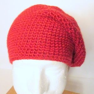 NEW Hand-crocheted Soft Non-Wool Slouchy Beret